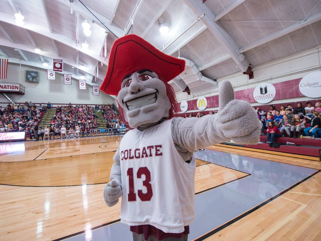 The Colgate Raider, complete with red eyes and grayish-pale skin, is certainly a sight to see.
