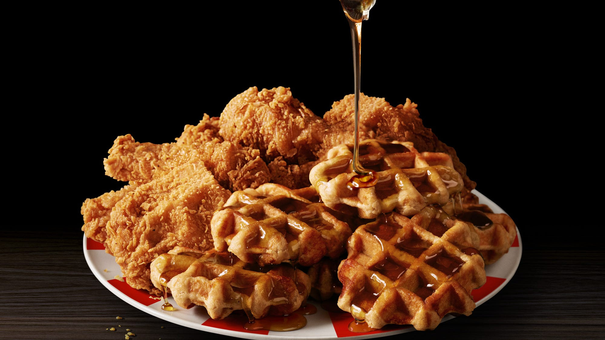 Kentucky Fried Chicken & Waffles pairs the KFC's Extra Crispy fried chicken with Belgian Liege-style waffles.