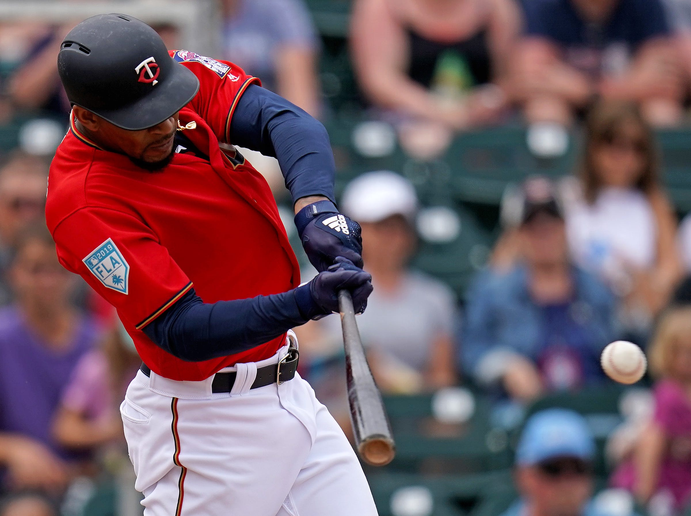 March 20: Twins center fielder Byron Buxton singles against the Pirates.