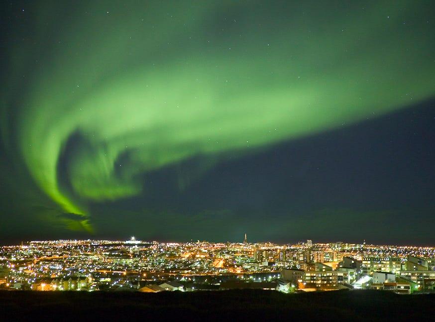 Northern Lights --Reykjavik --Nordurljos.  Photo by Ragnar Th. Sigurdsson [Via MerlinFTP Drop]