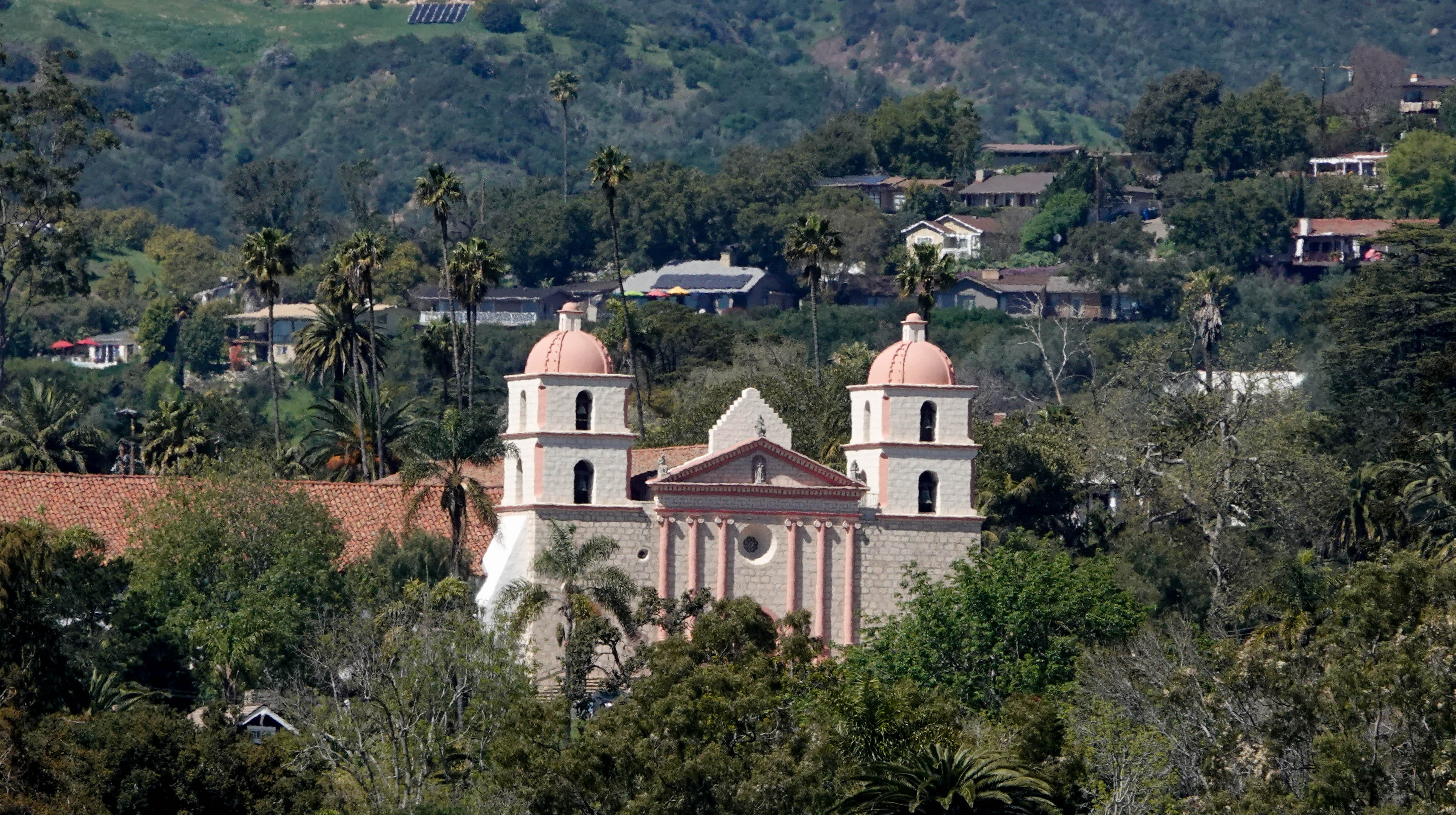 The Santa Barbara Mission, as seen from the roof of the County Courthouse.