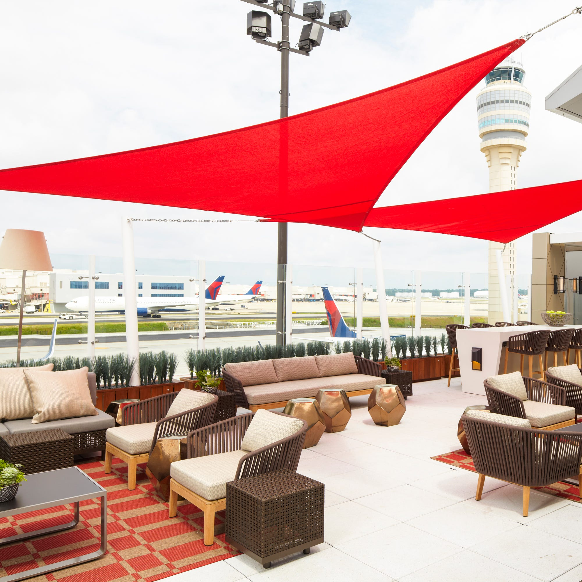 The deck at the Delta Sky Club at Hartsfield-Jackson Atlanta International Airport.