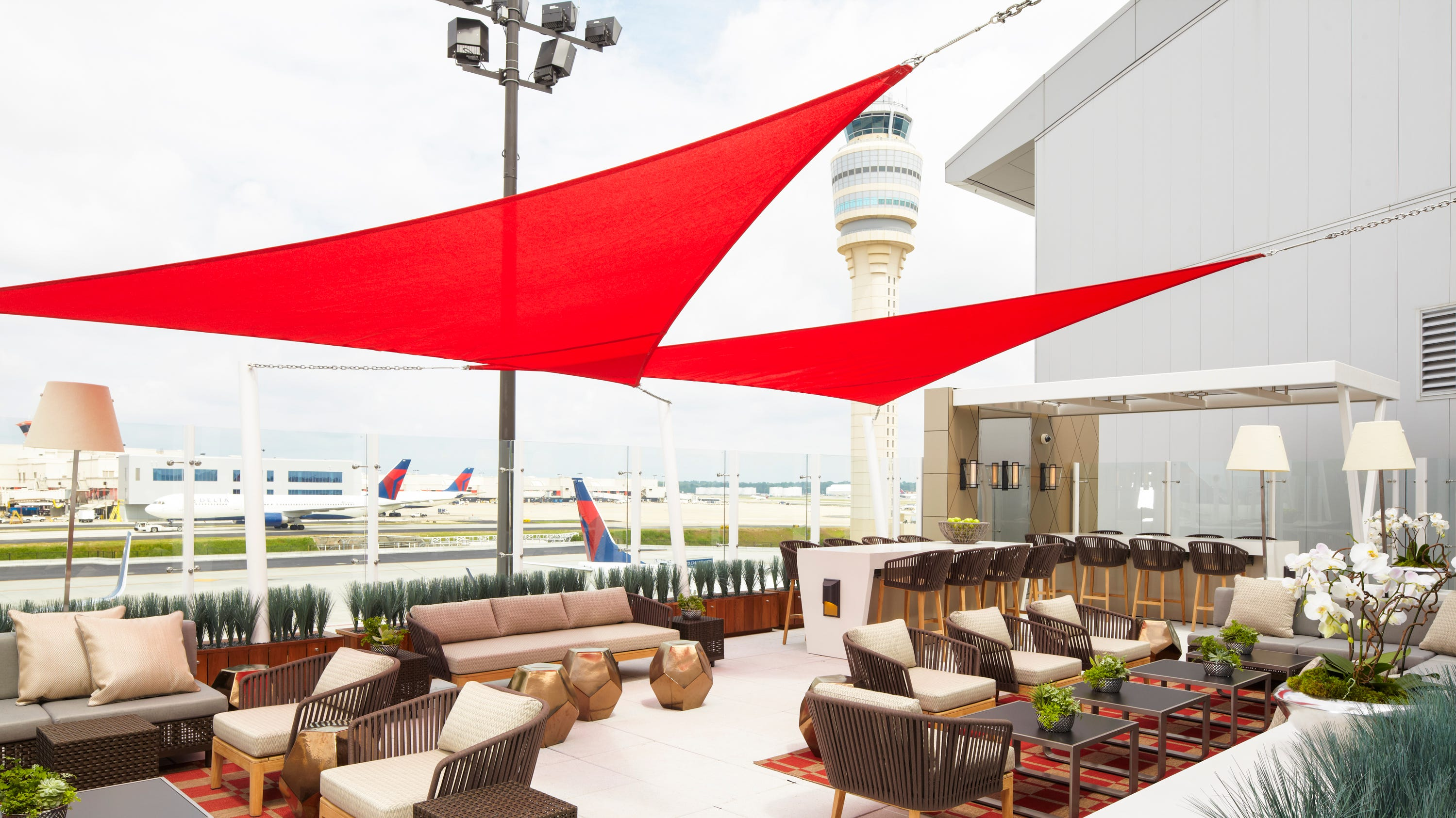 The deck at the Delta Sky Club at Hartsfield-Jackson Atlanta International Airport.