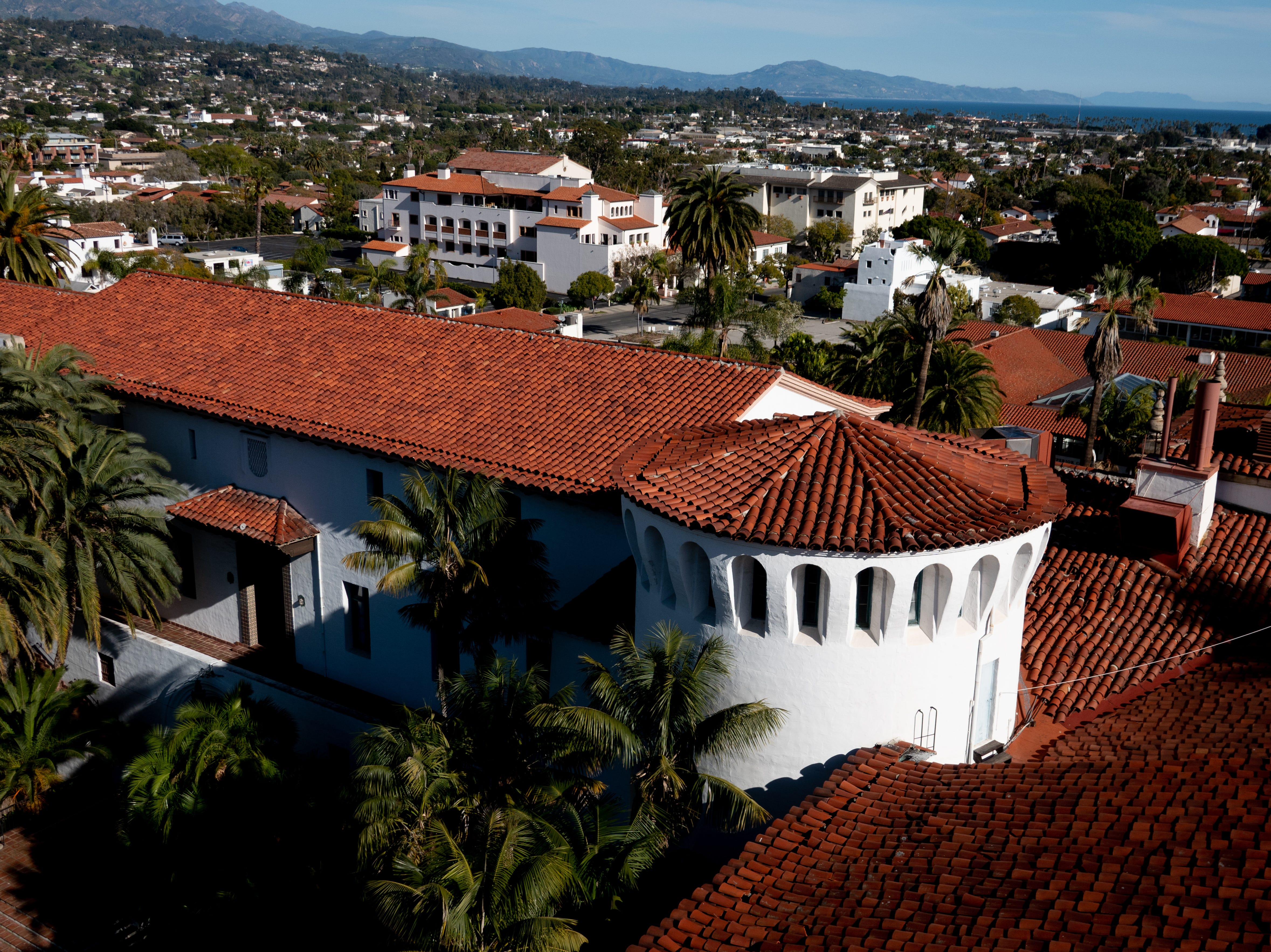 The red roofs of the Santa Barbara county courthouse