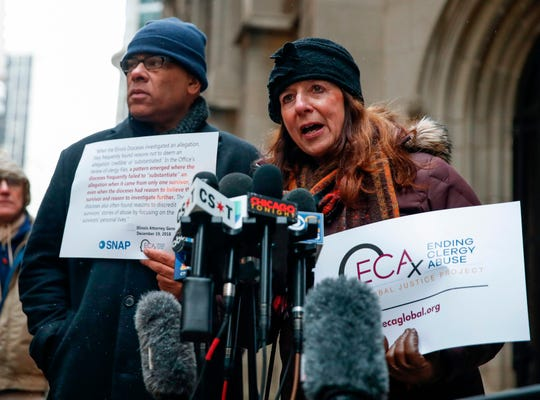 Patricia Gallagher Marchant says she was a victim of clergy abuse in a news conference outside the Archdiocese of Chicago on Jan. 2.