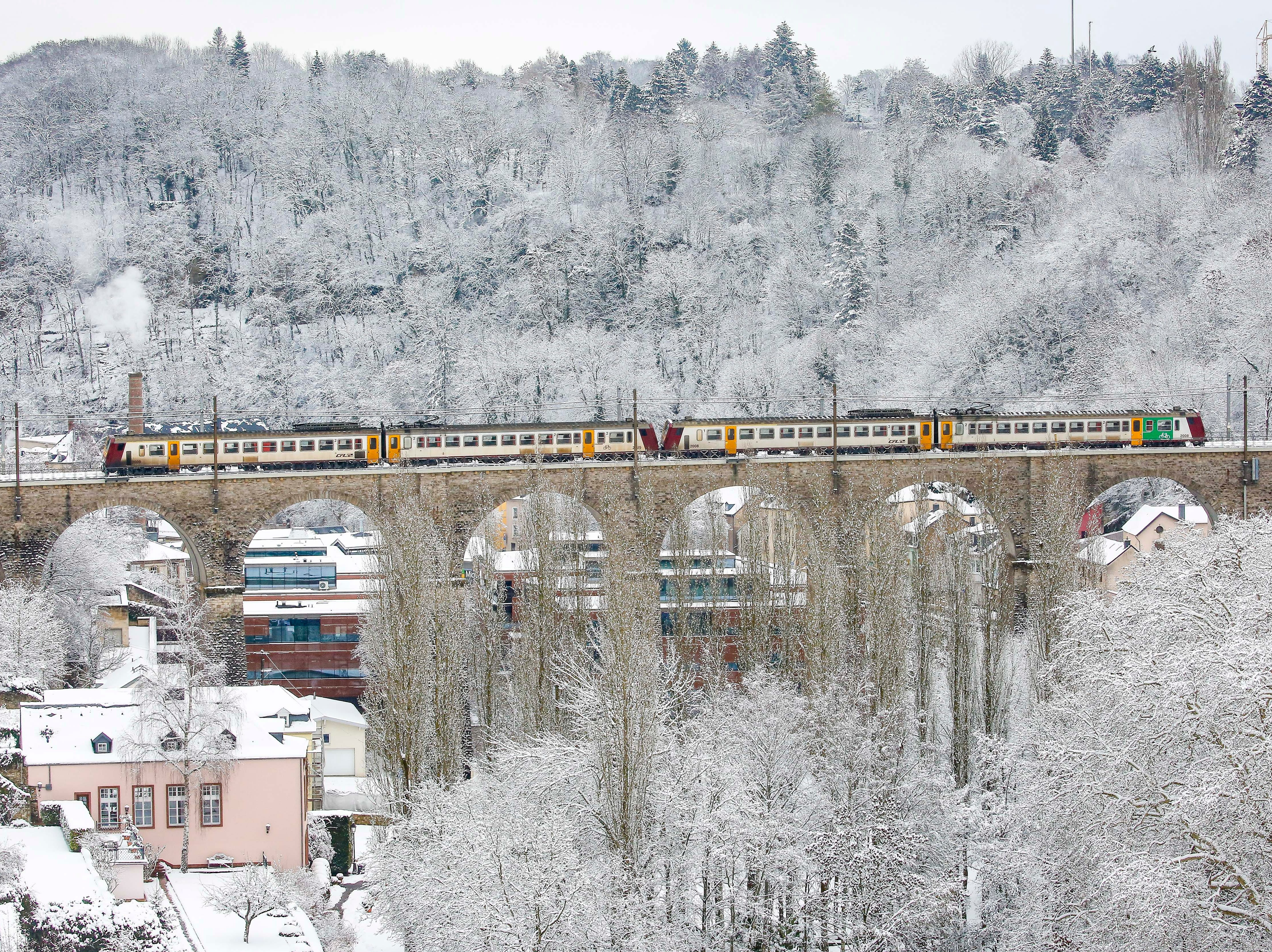 epa07333650 A train crosses a bridge in a snow covered panorama in Luxembourg, 31 January 2019.  Media reports state that snow and cold weather will continue for the upcoming days.  EPA-EFE/JULIEN WARNAND