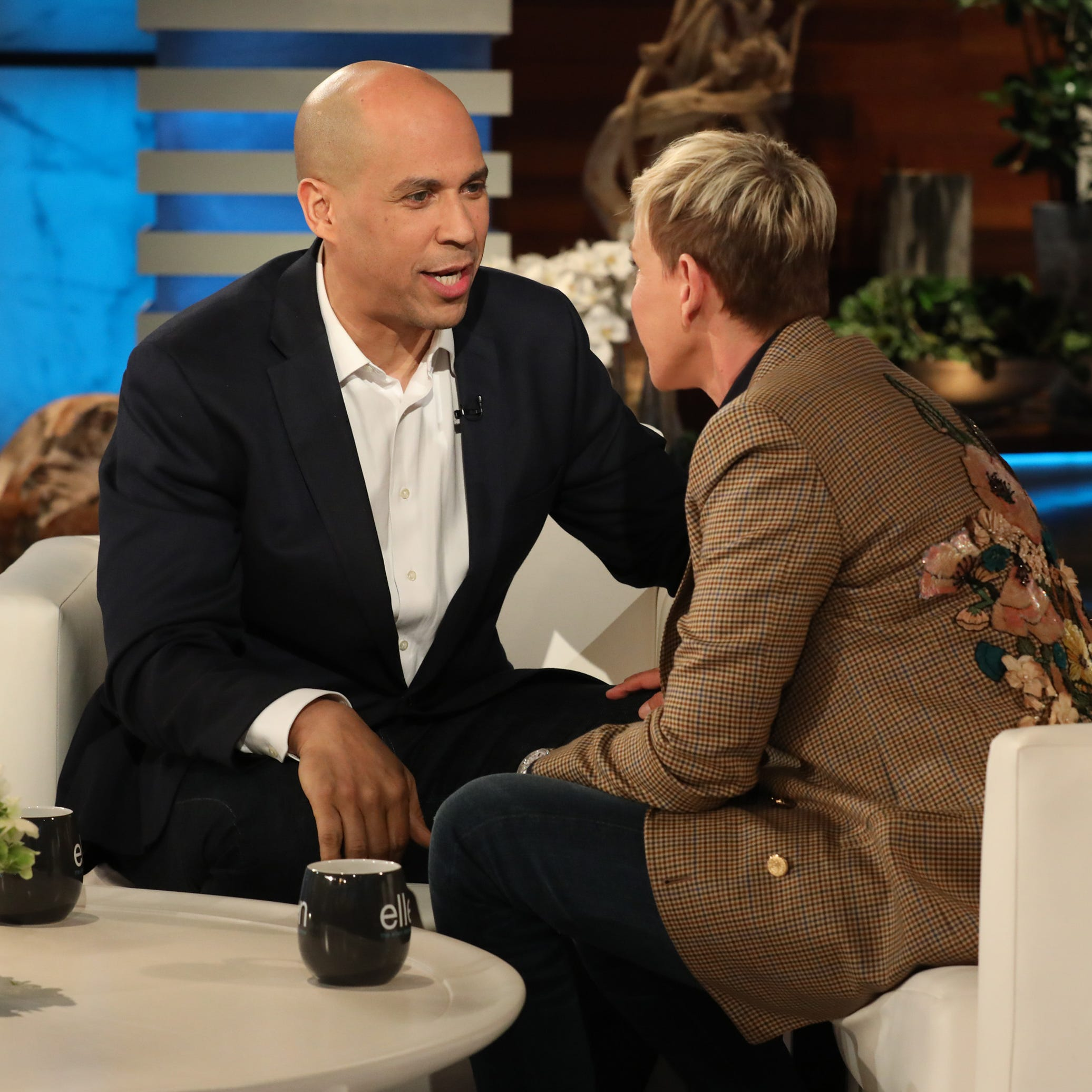 "DeGeneres told Booker that if he won the 2020 election and married actress Rosario Dawson while in office, ""that would be like our royal wedding."""
