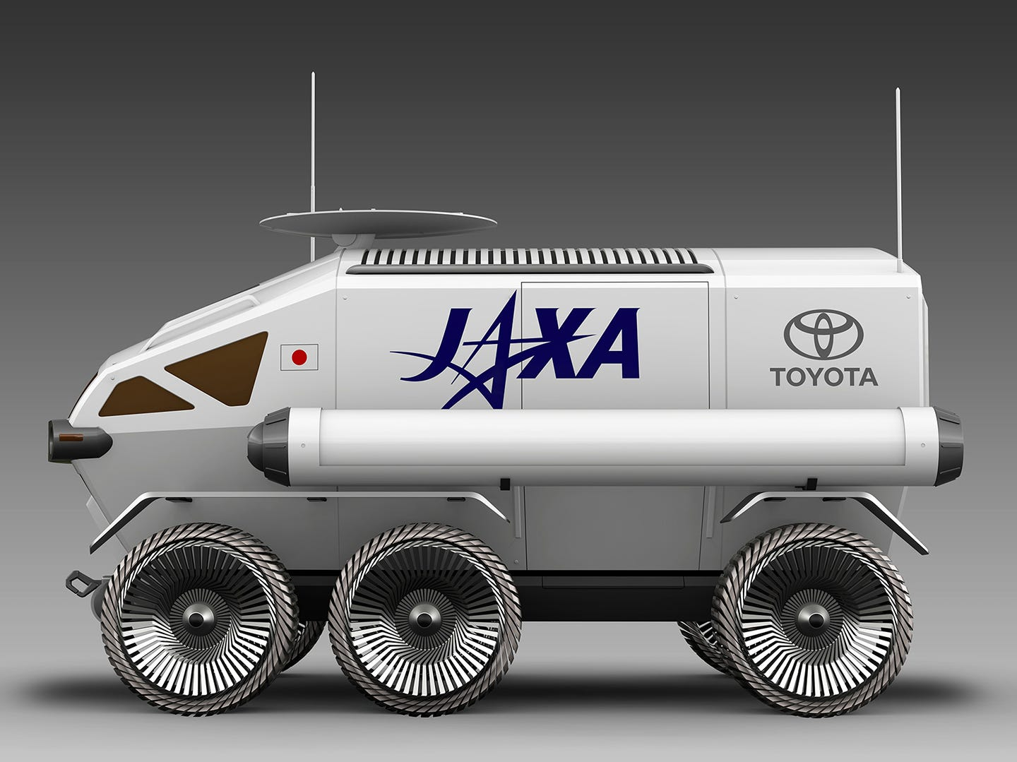 The moon rover would be nearly 20 feet long, a little over 17 feet  wide, and 12½  feet tall.