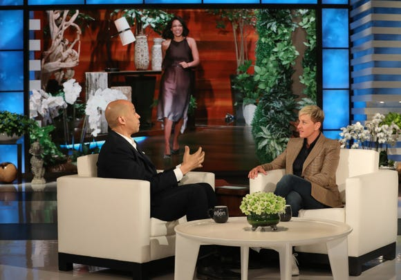 """Sen. Cory Booker visited """"The Ellen DeGeneres Show"""" on Wednesday, March 20, 2019, and discussed his newly revealed girlfriend, actress Rosario Dawson."""