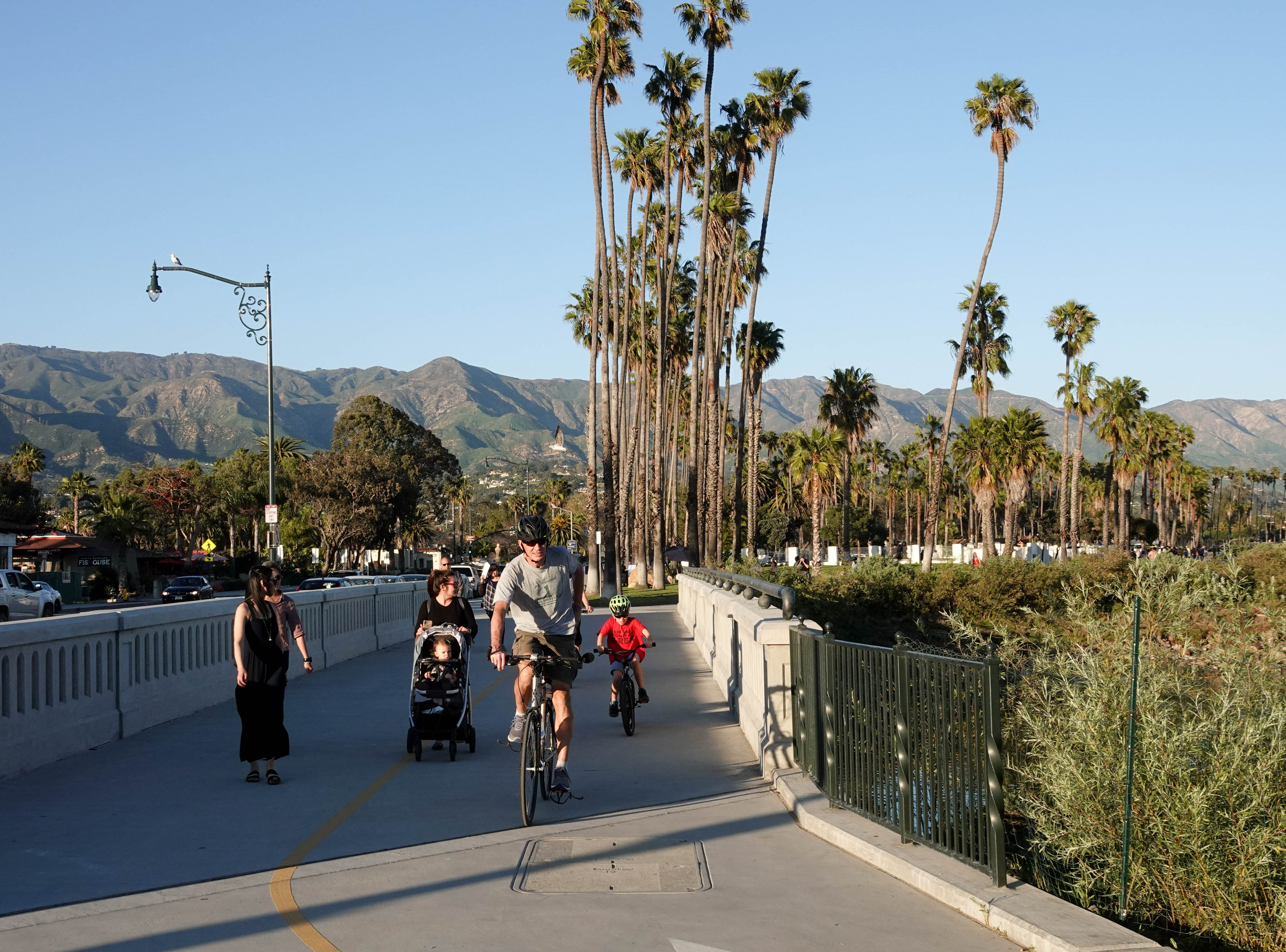 Cycling on the boardwalk in Santa Barbara.
