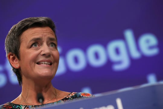 European Competition Commissioner Margrethe Vestager speaks during a media conference at EU headquarters in Brussels, on March 20, 2019.