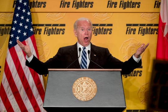 Joe Biden speaks to the International Association of Firefighters in Washington, DC on March 12, 2019.
