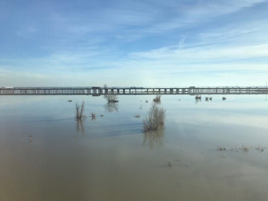 The Yolo bypass, an area of farmland near the California capitol of Sacramento which is protected by flood easements so that it cannot be built on. Instead, when winter rains flood local rivers and streams, the farm land floods, protecting nearby cities.