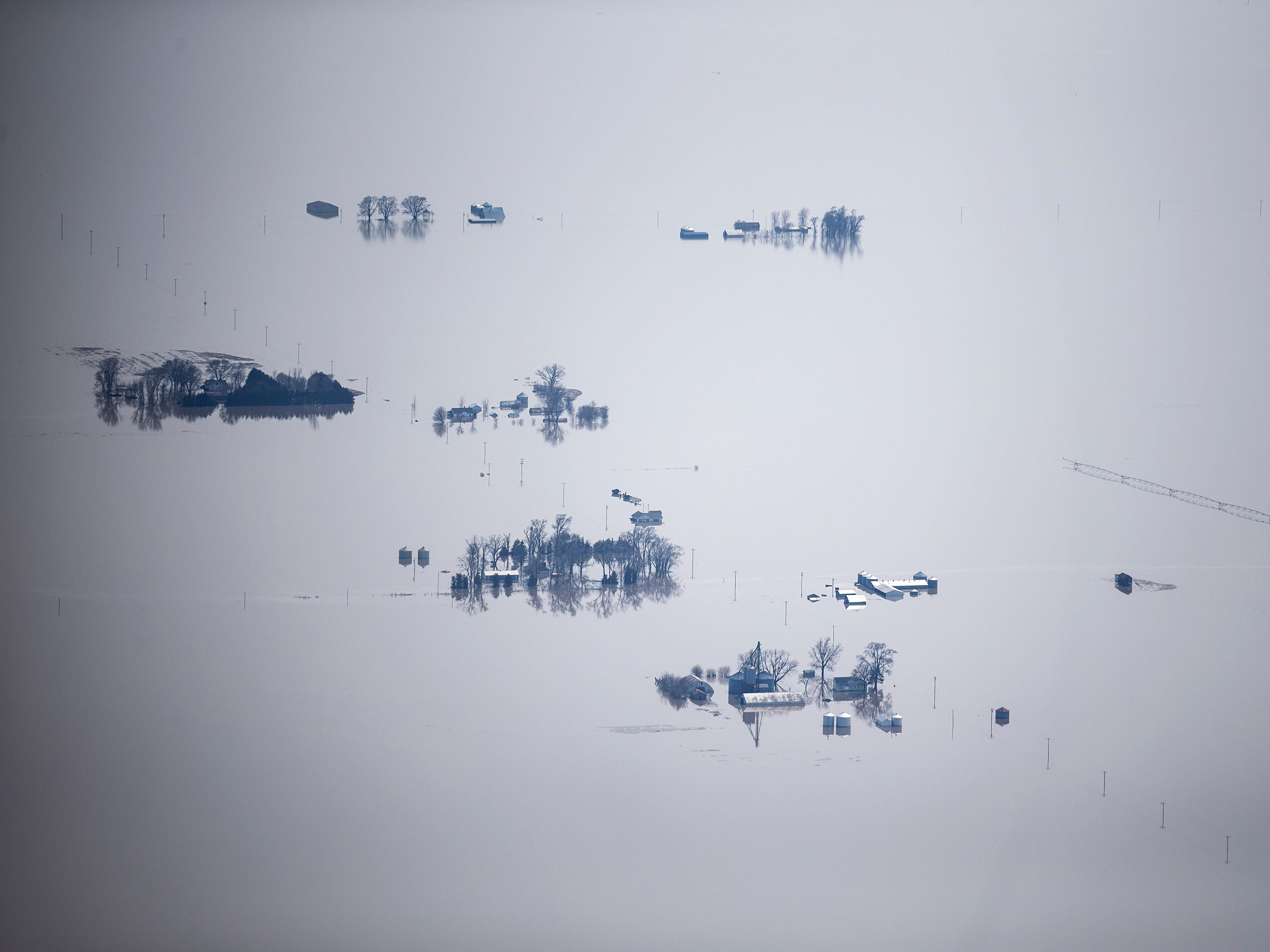Floodwater from the Missouri River inundates cities and farmland on the western edge of Iowa on March 18, 2019.