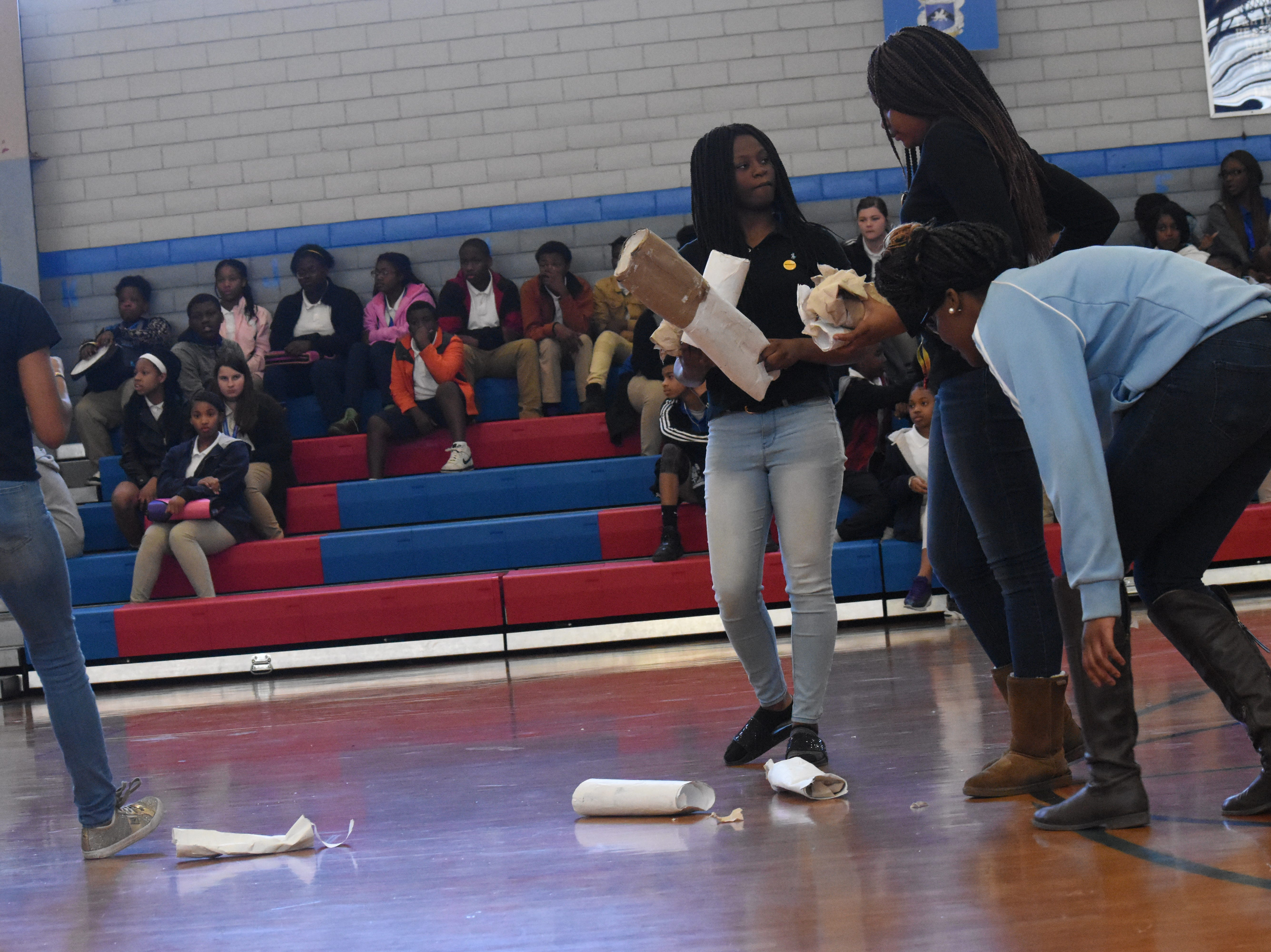 """Members of the Living Healthy Club at Alexandria Middle Magnet School held an assembly for Kick Butts Day which is recognized nationally by young people to raise awareness against the use of tobacco products.The students wrote the skit and came up with the activities for the assembly. AMMS was one of 53 schools in Central Louisiana participating in Kick Butts Day with funding from the Healthy Behaviors School District Partnership Grant from The Rapides Foundation. Kick Butts Day is recognized nationally by young people to raise awareness against the use of tobacco products. A press release from The Rapides Foundation states, """"The Healthy Behaviors School District Partnership Grant seeks to prevent and reduce tobacco use, substance and alcohol abuse, and overweight/obesity by focusing on changing policy, social norms and environments. Grant activities are based on best and promising practices to create comprehensive school- and community-based awareness and prevention programs in order to positively impact Central Louisiana students, educators and staff. The goal is to provide the knowledge and skills necessary to make better and informed behavior decisions leading to healthier lives."""""""