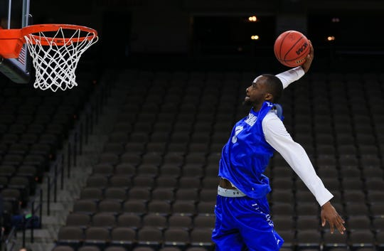 Seton Hall Pirates guard Quincy McKnight (0) during practice day before the first round of the 2019 NCAA Tournament at Jacksonville Veterans Memorial Arena.