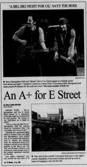 The Asbury Park Press front page on March 19, 1999, featuring Bruce Springsteen and Little Steven the day after the first rehearsal show at Asbury Park's Convention Hall
