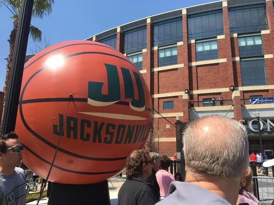 The scene outside of Veterans Memorial Arena in Jacksonville.