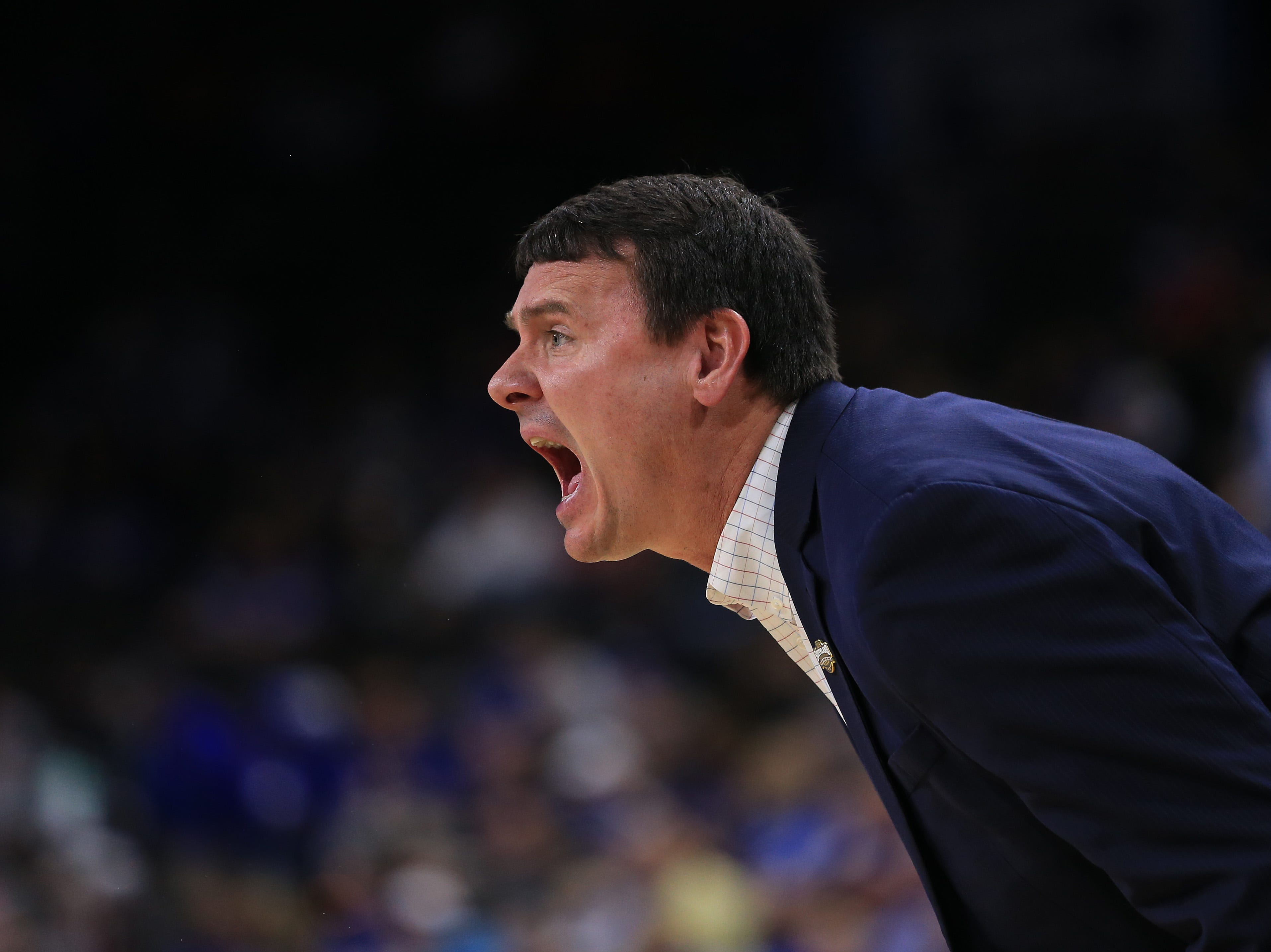 Mar 21, 2019; Jacksonville, FL, USA; Abilene Christian Wildcats head coach Joe Golding yells from the sidelines during the first quarter in the first round of the 2019 NCAA Tournament against the Kentucky Wildcats at Jacksonville Veterans Memorial Arena. Mandatory Credit: Matt Stamey-USA TODAY Sports