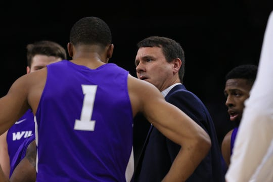 Mar 21, 2019; Jacksonville, FL, USA; Abilene Christian Wildcats head coach Joe Golding talks to players during the first quarter in the first round of the 2019 NCAA Tournament against the Kentucky Wildcats at Jacksonville Veterans Memorial Arena. Mandatory Credit: Matt Stamey-USA TODAY Sports