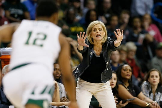 Baylor head coach Kim Mulkey instructs her team against Iowa State during the first half of the Big 12 women's conference tournament championship in Oklahoma City, Monday, March 11, 2019. (AP Photo/Alonzo Adams)