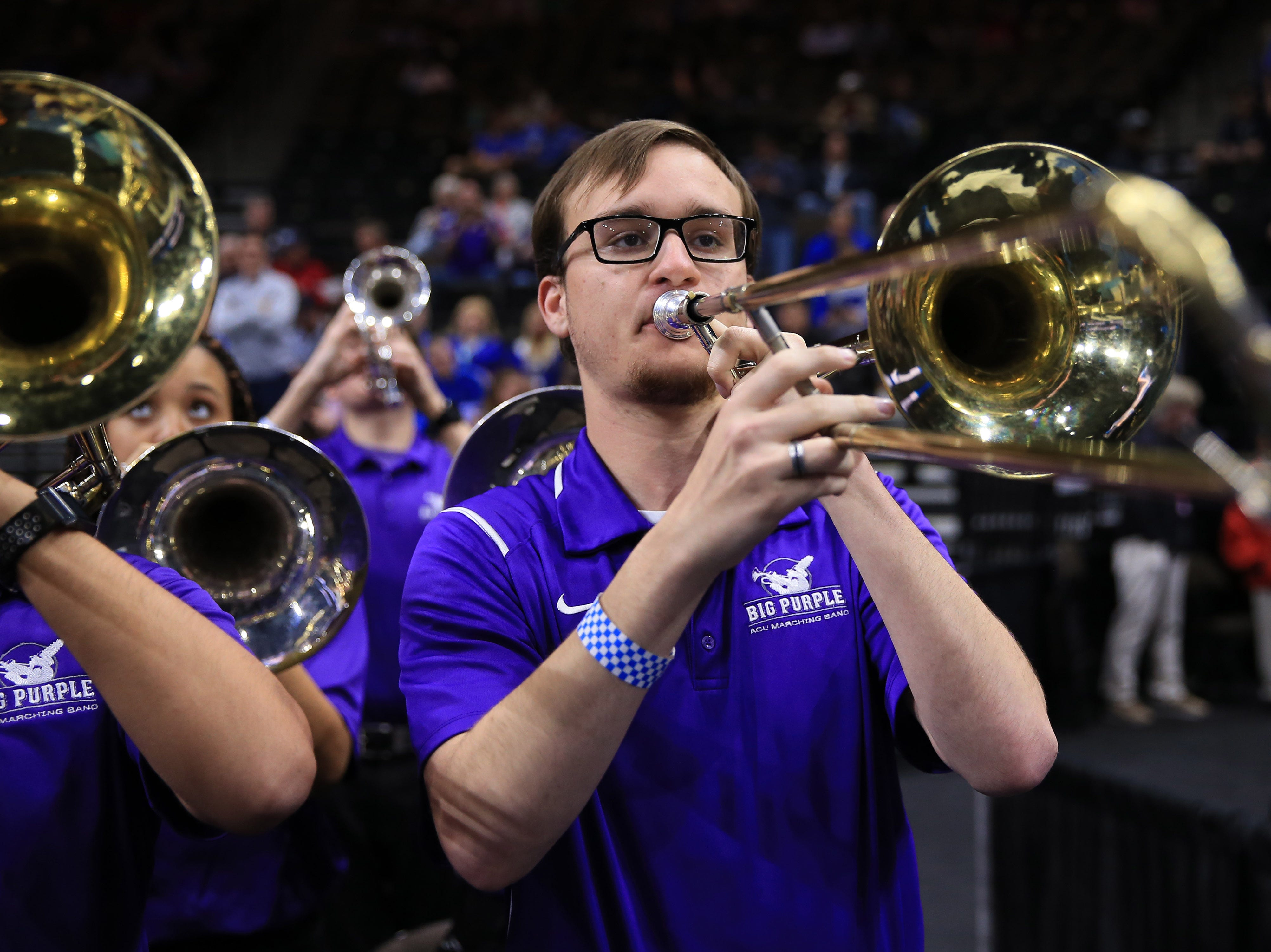Mar 21, 2019; Jacksonville, FL, USA; The Abilene Christian Wildcats band preforms prior to the first round of the 2019 NCAA Tournament against the Kentucky Wildcats at Jacksonville Veterans Memorial Arena. Mandatory Credit: Matt Stamey-USA TODAY Sports