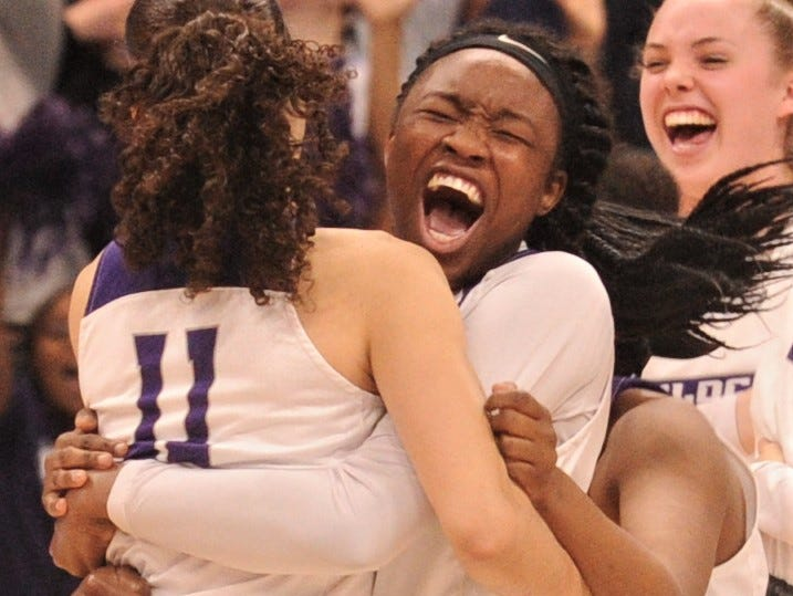 ACU's Alyssa Adams celebrates with Sara Williamson (11) after the Wildcats won the Southland Conference Tournament title, beating Texas A&M-Corpus Christi 69-68 in the championship game Sunday, March 17, 2019, at the Merrell Center in Katy.