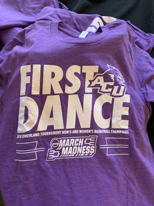 ACU gave out 'First Dance' shirts before the men's basketball team played in its first-ever NCAA Tournament on Thursday, March 21, 2019 in Jacksonville, Florida.