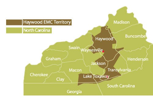 Haywood Electric Membership Coorporation's coverage map.