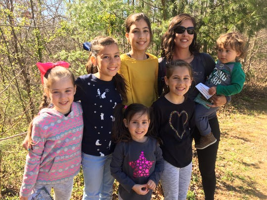 The Dice Family, from left, Alina, 6, Siena, 10, Isabella, 12, mom Jessica, Zachary, 2, and front row Mila, 4 and Juliana, 9, of Ocala, Florida, were exploring the Blue Ridge Parkway March 19, 2019.