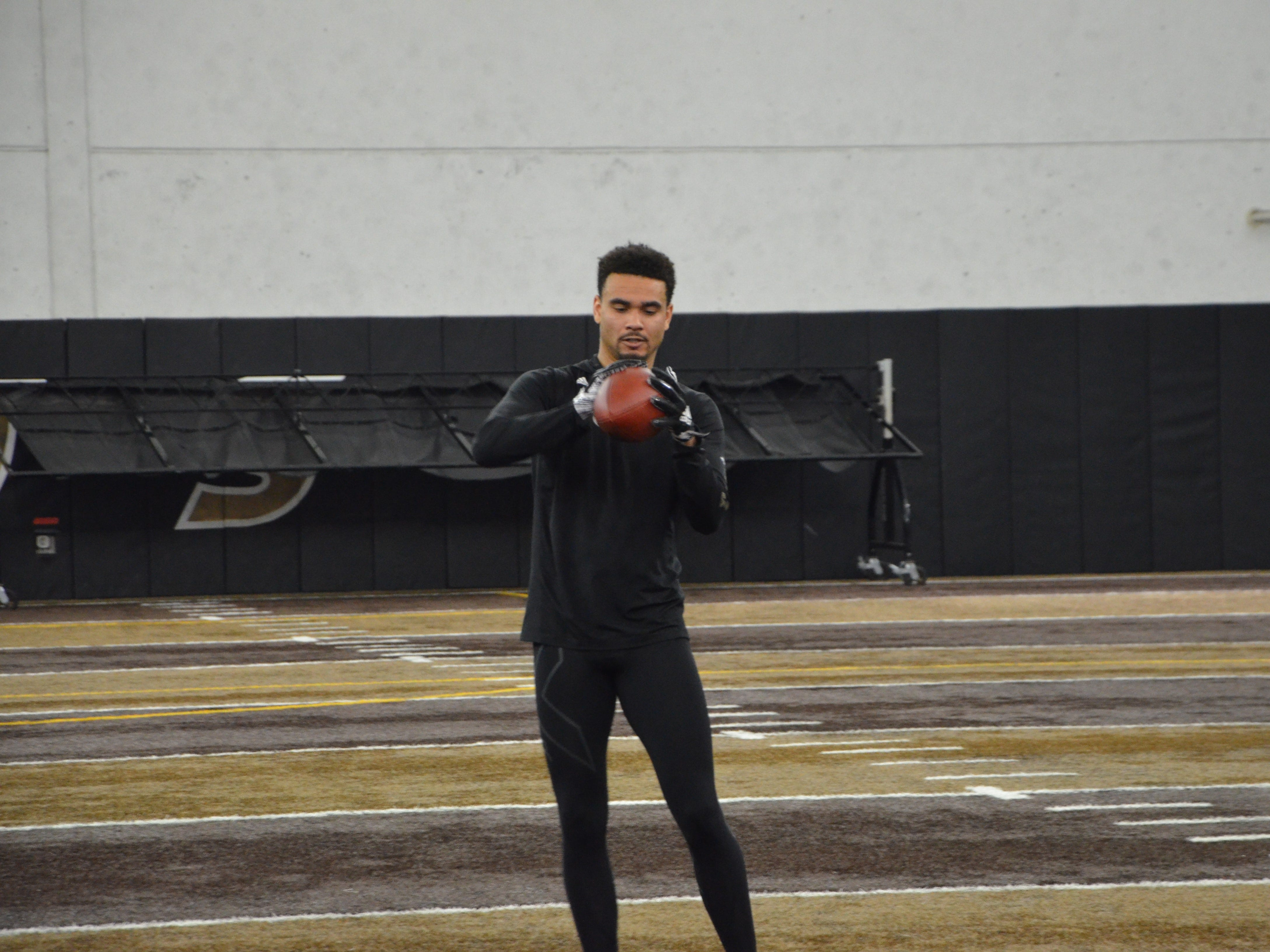 Western Michigan receiver Drake Harris catches passes in front of NFL scouts at the Broncos' Pro Day on Thursday, March 21, 2019.