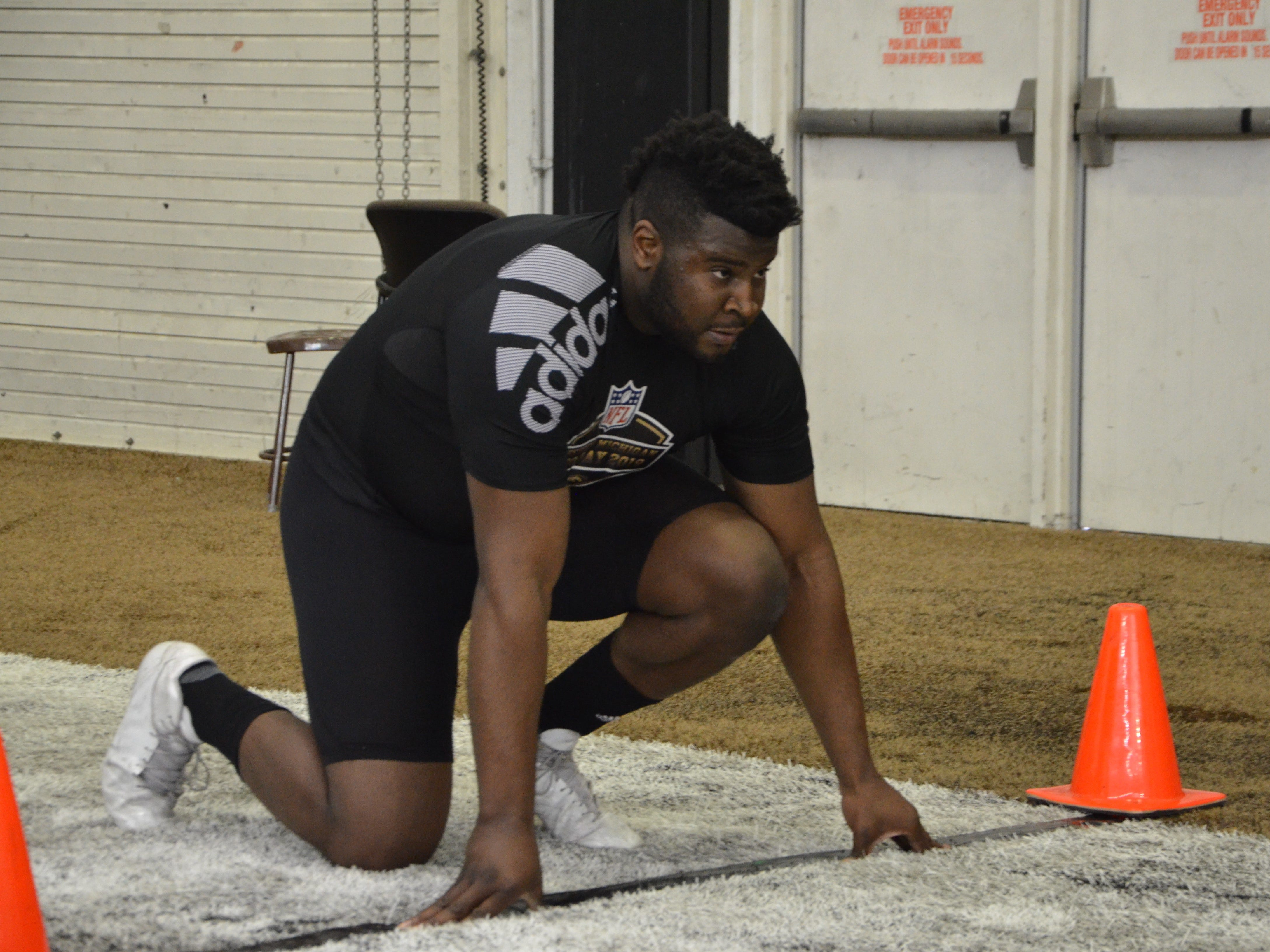 Western Michigan tight end Odell Miller lines up for the 40-yard-dash in front of NFL scouts at the Broncos' Pro Day on Thursday, March 21, 2019.