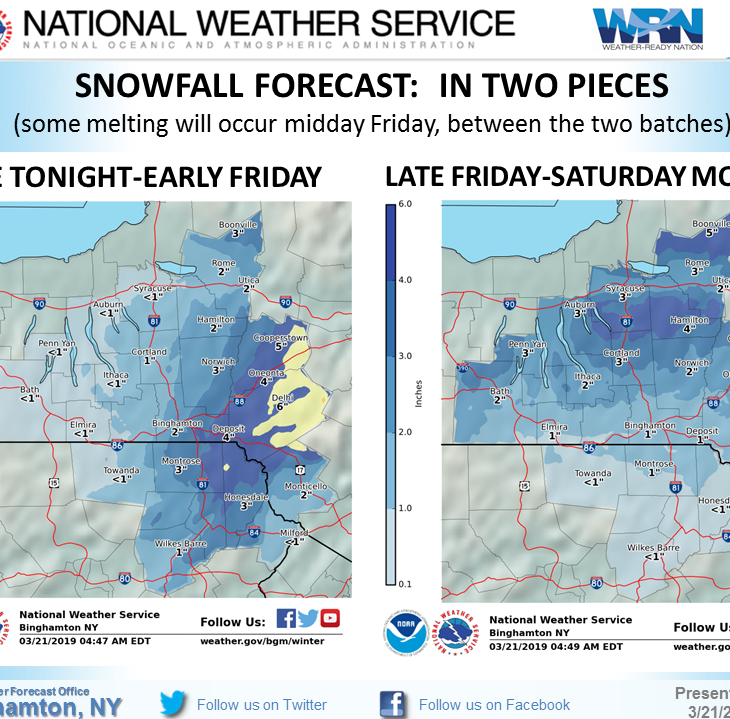 Snow may come to the Southern Tier, despite spring's arrival