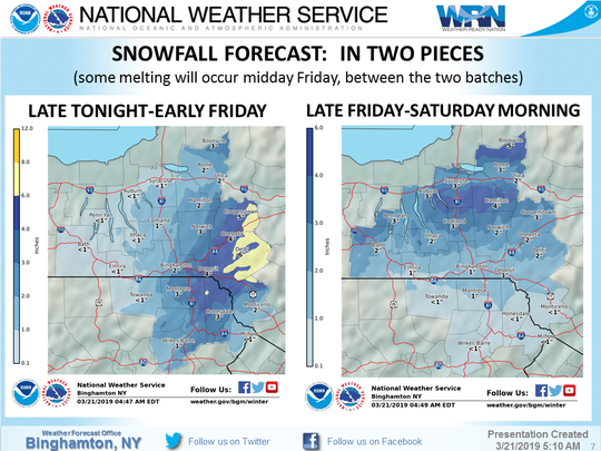 The National Weather Service's latest snowfall prediction for Thursday through Saturday.