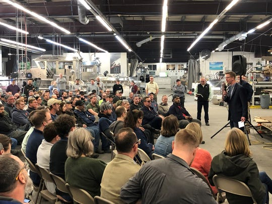 U.S. Rep. Derek Kilmer, D-Gig Harbor, addresses employees at SAFE Boats in Bremerton on Thursday.