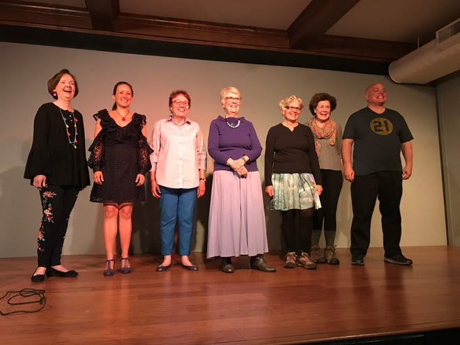 Connie Regan-Blake takes a bow during the last Slice of Life storytelling performance at the Black Mountain Center for the Arts with her Taking the Story to Stage workshop participants.