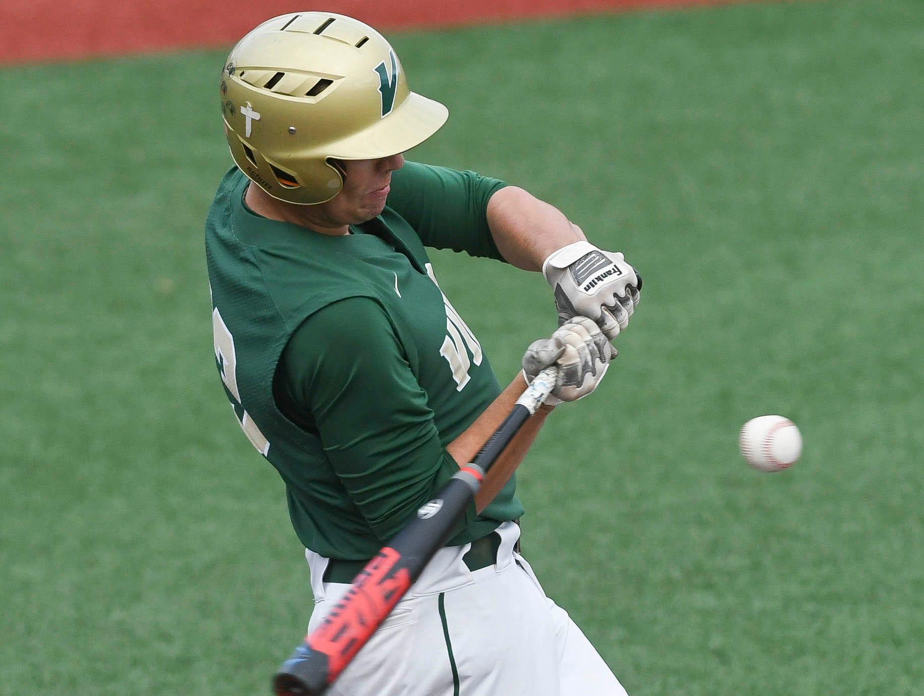 Viera's Carson Janssen hits a double during Wednesday's game against Sebastian River at USSSA Space Coast Stadium.
