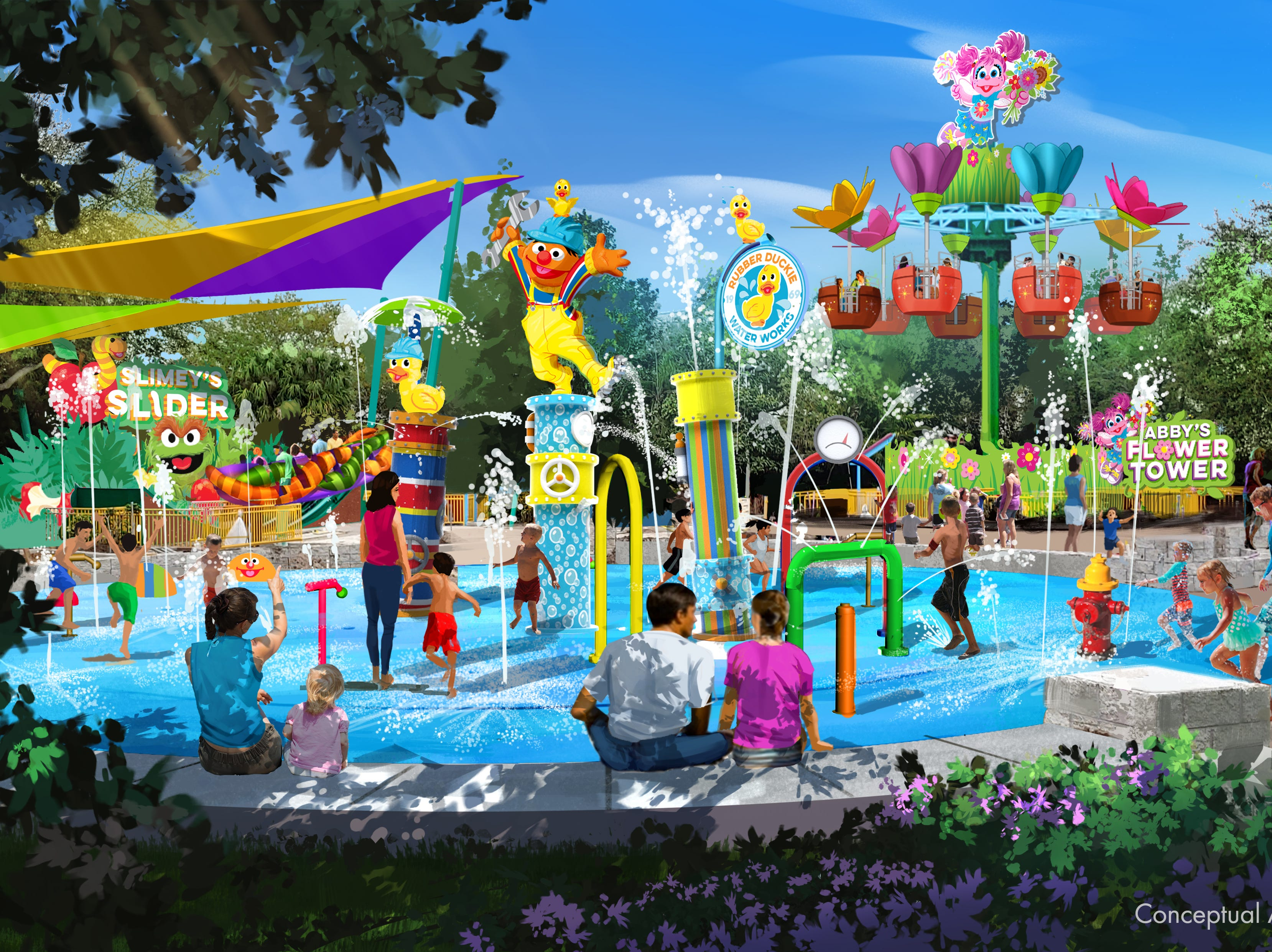 Rubber Ducky Water Works is a water play area at Sesame Street Land at Seaworld Orlando. The attraction opens March 27, 2019.