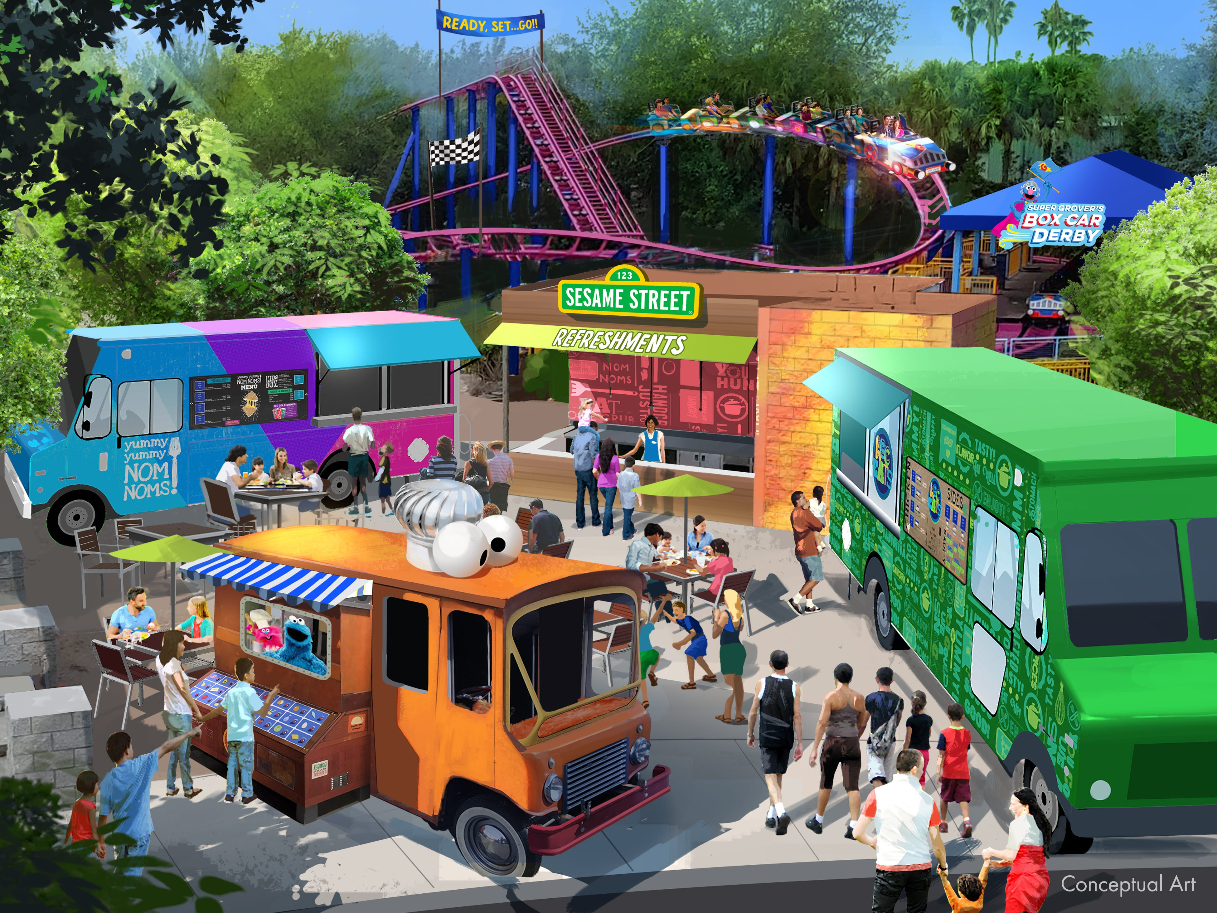 """Get some """"nom nom noms"""" via food trucks at Sesame Street Land at SeaWorld Orlando. The attraction opens March 27, 2019."""