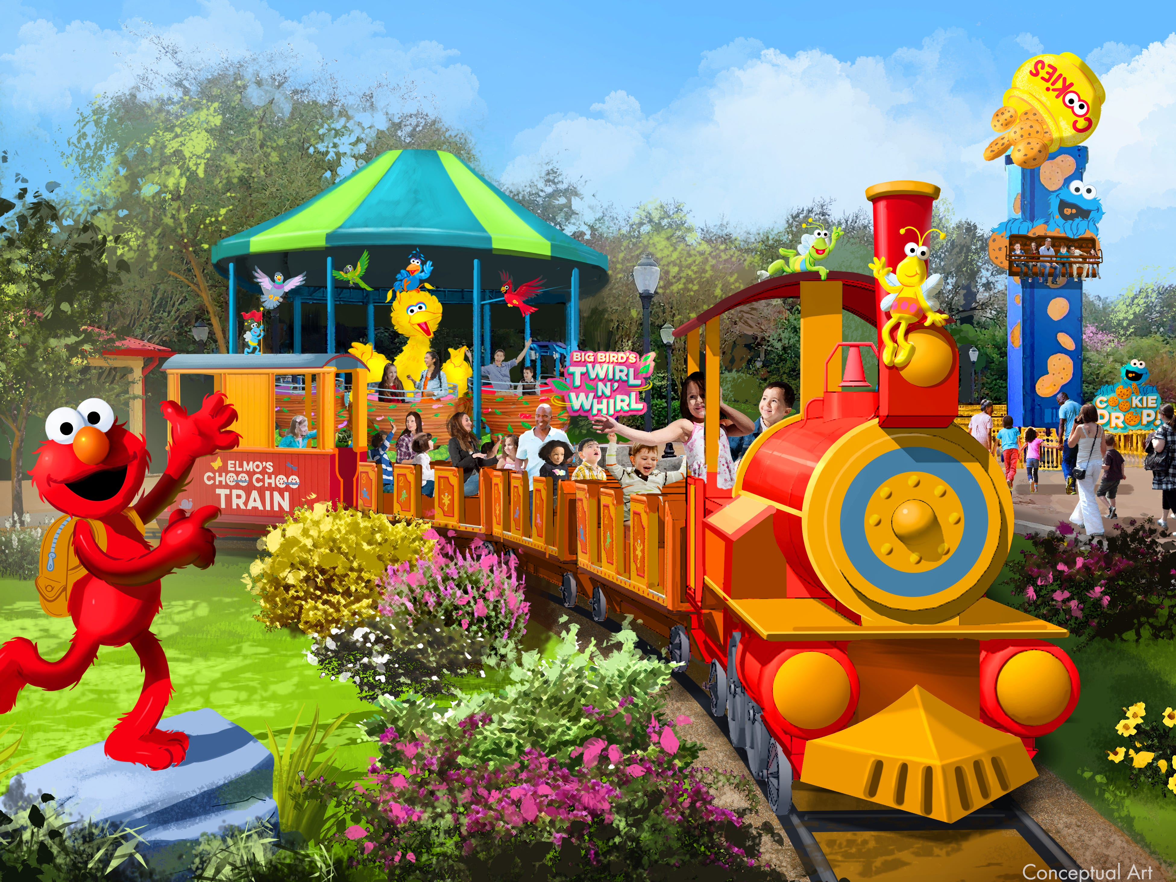Shown is conceptual art of Elmo's Choo Choo Train at Sesame Street Land at Seaworld Orlando. The attraction opens March 27, 2019.