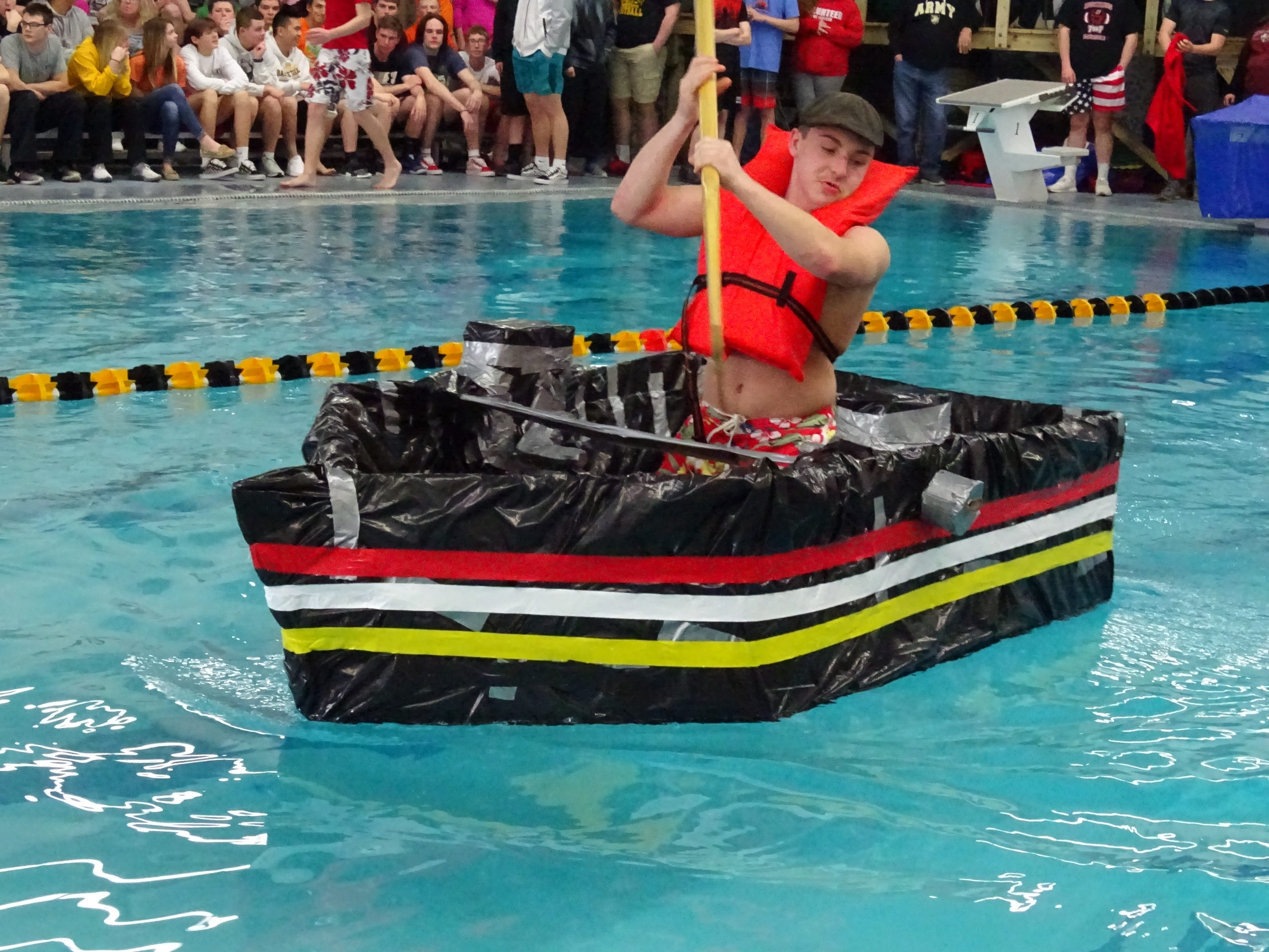 Students from six area school districts competed in the Cardboard Boat Regatta at Colonel Crawford High School on Wednesday.