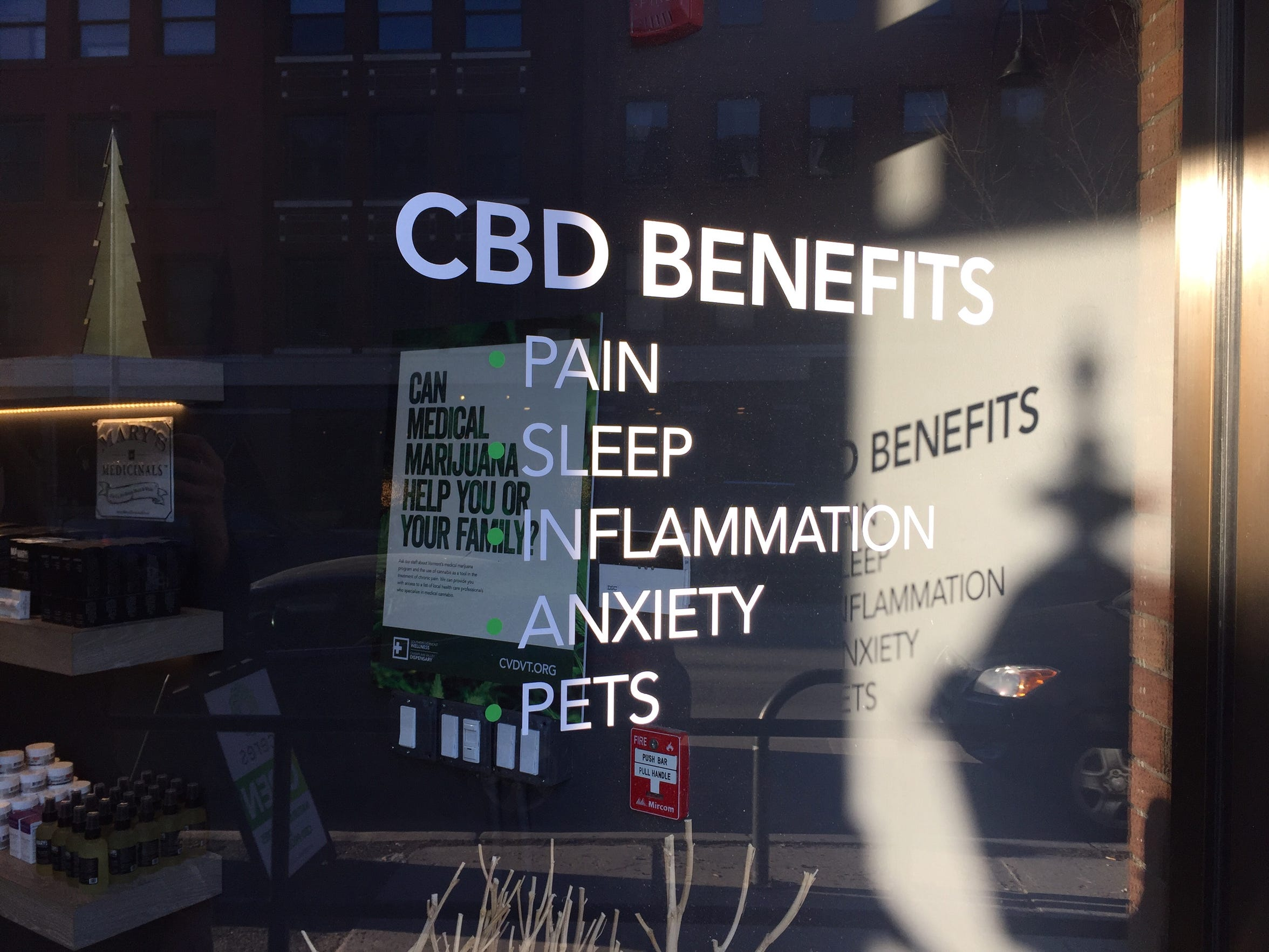 The Ceres Natural Remedies store in downtown Burlington advertises a variety of advantages of using CBD products, which are rapidly gaining popularity.