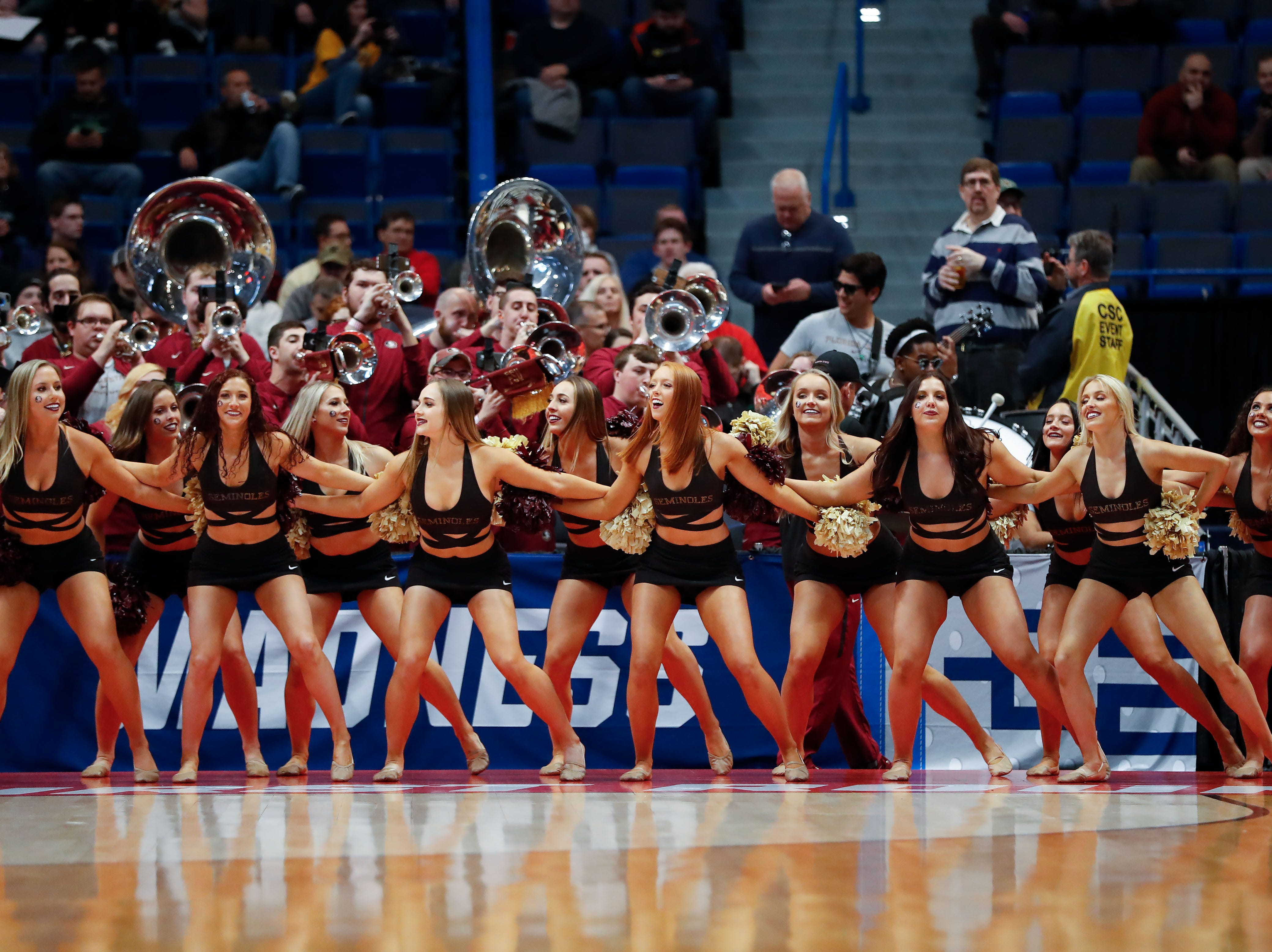 Mar 21, 2019; Hartford, CT, USA; The Florida State Seminoles cheerleaders perform during a game against the Vermont Catamounts in the first round of the 2019 NCAA Tournament at XL Center. Mandatory Credit: David Butler II-USA TODAY Sports