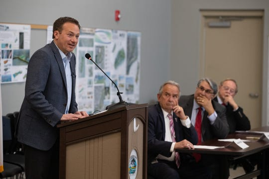U.S. Congressman Michael Cloud speaks during a news conference announcing details for a $5 million grant for the new Rockport Center for the Arts building on Thursday, March 21, 2019.