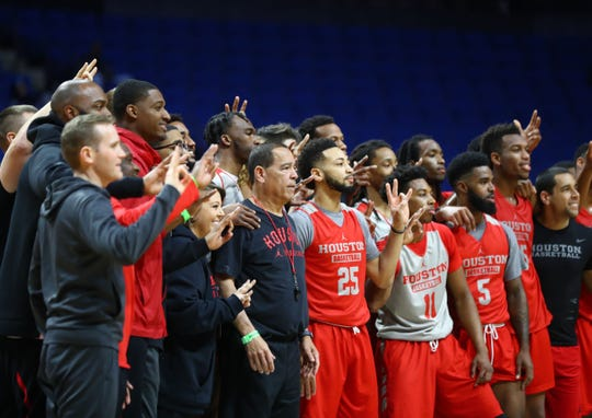 Mar 21, 2019; Tulsa, OK, USA; Houston Cougars head coach Kelvin Sampson poses for a team photo with his players during practice before the first round of the 2019 NCAA Tournament at BOK Center. Mandatory Credit: Mark J. Rebilas-USA TODAY Sports