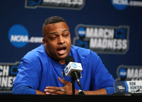 Mar 21, 2019; Tulsa, OK, USA; Northern Georgia State Panthers head coach Ron Hunter speaks to the media before the first round of the 2019 NCAA Tournament at BOK Center. Mandatory Credit: Mark J. Rebilas-USA TODAY Sports
