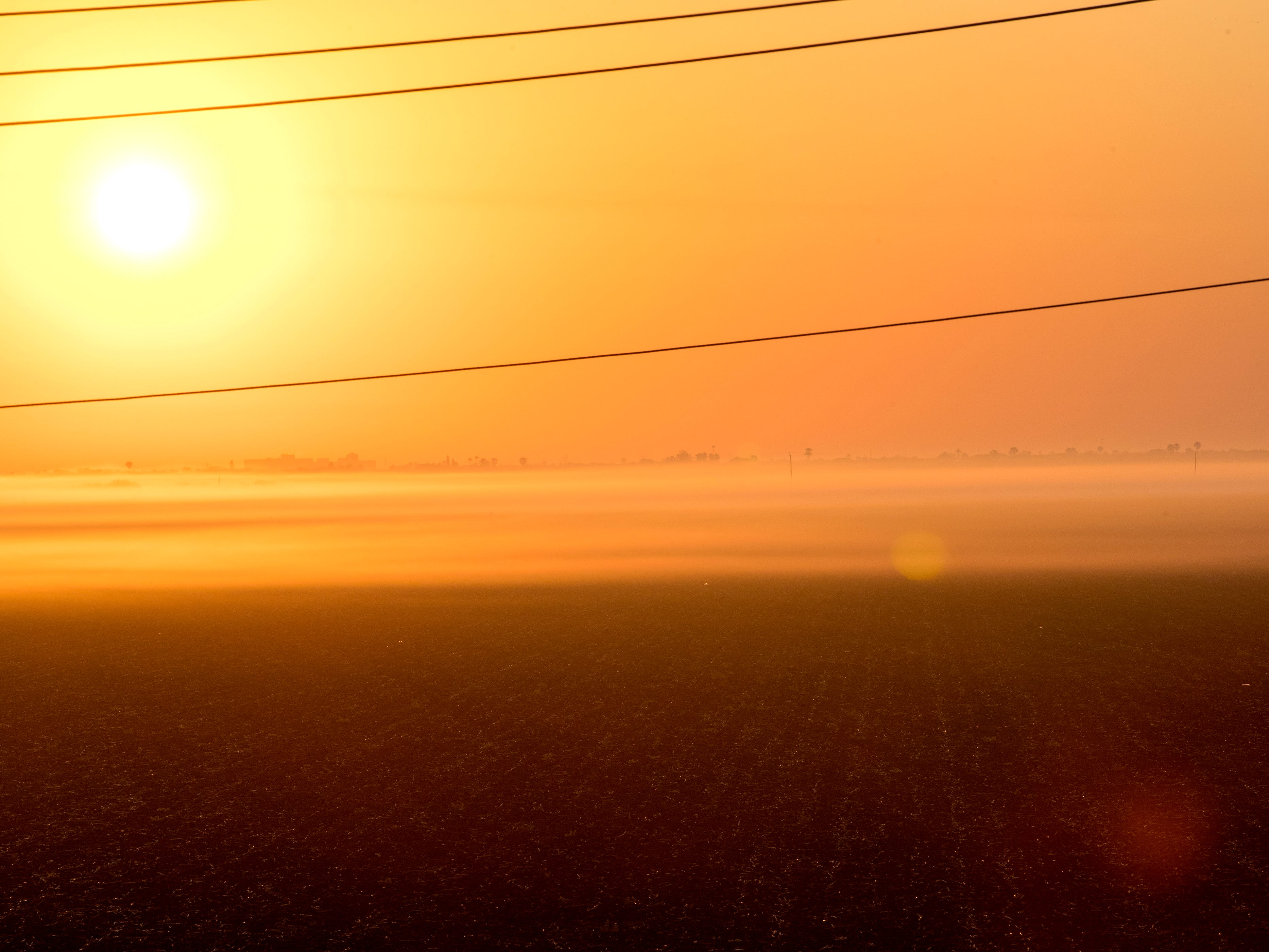 The sun peeks through the fog on a field off Chapman Ranch Road on Thursday, March 21, 2019.