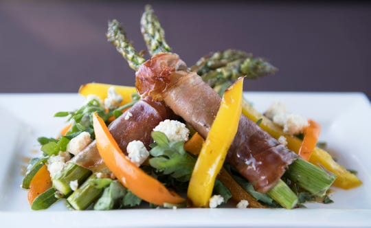Warm asparagus and speck with smoked bleu cheese, roasted peppers, baby kale, and honey balsamic dressing is a second course option on the SJ Hot Chefs' Spring Restaurant Week menu of Anthony's Creative Italian Cuisine in Haddon Heights.