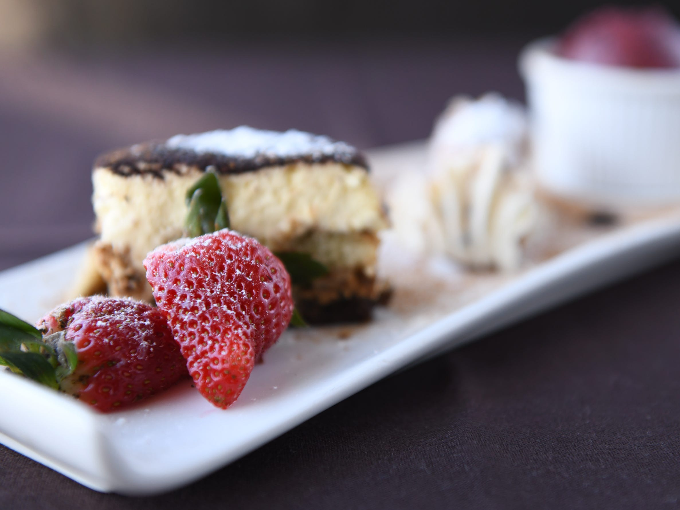 A chef's sampler plate with tiramisu, cannoli, and raspberry sorbet is the dessert on the SJ Hot Chefs' Spring Restaurant Week menu of Anthony's Creative Italian Cuisine in Haddon Heights.