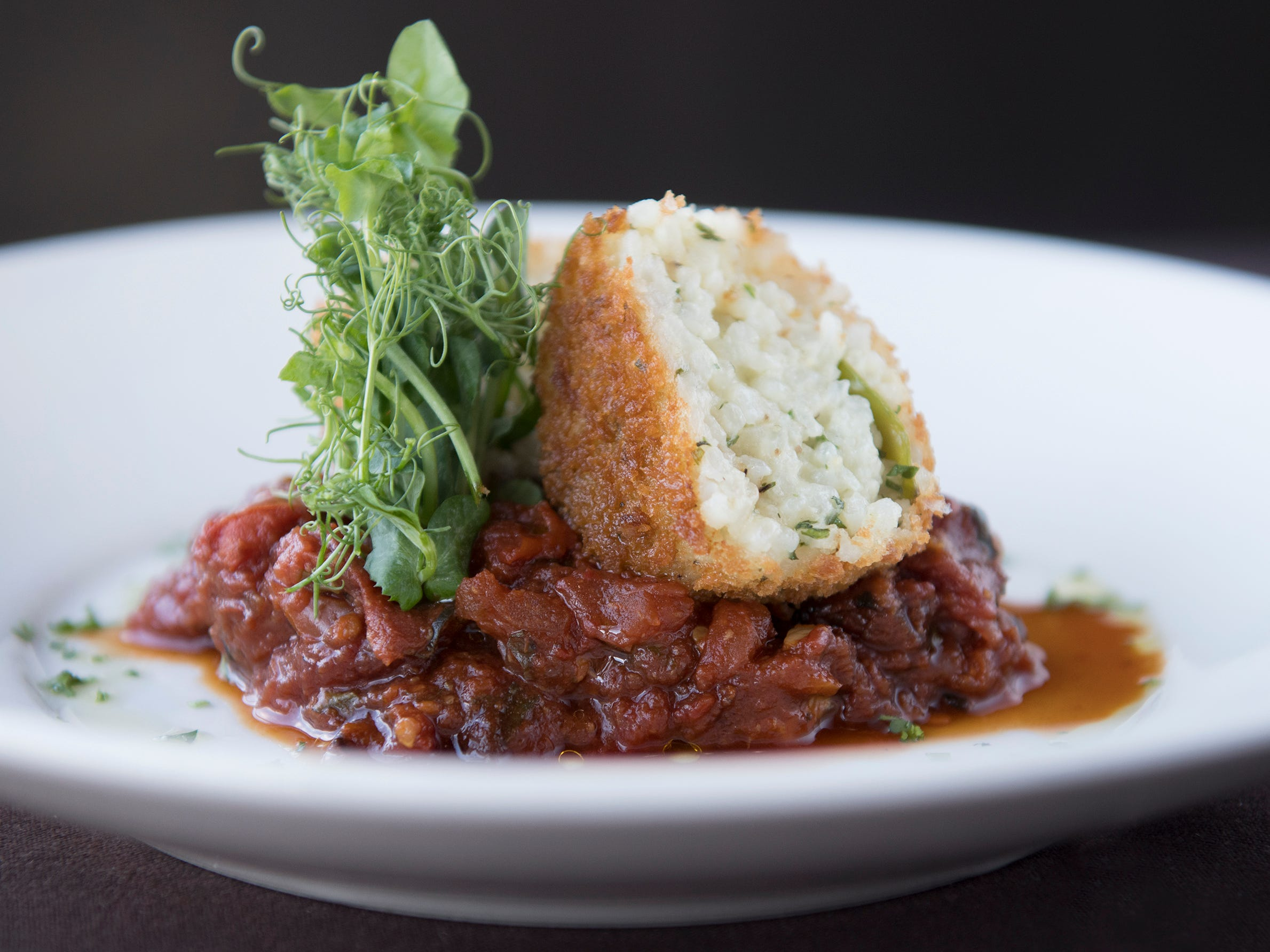Sweet pea and marscapone cheese arancini with smoked tomato sauce is a first course option on the SJ Hot Chefs' Spring Restaurant Week menu of Anthony's Creative Italian Cuisine in Haddon Heights.